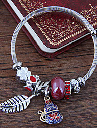 cheap -Women's Burgundy Charm Bracelet Layered Leaf Gourd European Fashion Rhinestone Bracelet Jewelry Red / Blue For Daily