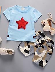 cheap -Toddler Boys' Active Daily Geometric Print Print Short Sleeve Short Cotton Clothing Set Blue