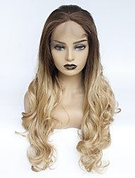 cheap -Synthetic Lace Front Wig Wavy Middle Part Lace Front Wig Ombre Long Medium Brown / Strawberry Blonde Synthetic Hair Women's Heat Resistant Women Middle Part Ombre