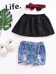 cheap -Baby Girls' Basic Solid Colored Sleeveless Short Blouse Black / Toddler