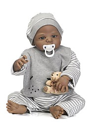 cheap -NPKCOLLECTION NPK DOLL Reborn Doll Baby Boy African Doll 24 inch Full Body Silicone Silicone Vinyl - lifelike Gift Child Safe Non Toxic Tipped and Sealed Nails Natural Skin Tone Kid's Boys' / Girls'