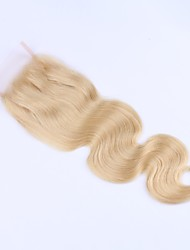 cheap -Guanyuwigs Brazilian Hair 4x4 Closure Wavy Free Part Swiss Lace Virgin Human Hair Women's Soft / Women / Natural Hairline Daily / Blonde / Unprocessed / Blonde