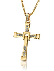 cheap -Men's Cubic Zirconia Pendant Necklace Cross Fashion Gold Plated Gold White Rose Gold 60+5 cm Necklace Jewelry 1pc For Party / Evening Daily