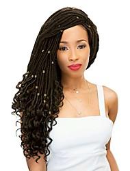 "cheap -Braiding Hair Wavy Twist Braids Curly Braids Pre-loop Crochet Braids Synthetic Hair 1 Piece 24 roots / pack Hair Braids 18"" Dreadlock Extensions 100% kanekalon hair Crochet Faux Dreads Birthday Party"