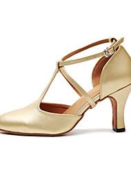 cheap -Women's Modern Shoes / Ballroom Shoes PU Heel Buckle Cuban Heel Dance Shoes Black / Gold / Practice