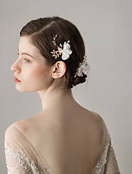 cheap -Tulle Hair Pin with Flower 1 Piece Wedding / Party / Evening Headpiece