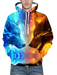 cheap -Men's Plus Size Hoodie Wolf 3D / Animal Print Hooded Basic / Exaggerated Long Sleeve Loose Blue S M L XL XXL XXXL / Fall