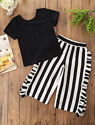 cheap -Baby Girls' Active / Sophisticated Holiday / Going out Solid Colored / Striped Ruffle Short Sleeve Regular Clothing Set Black / Toddler
