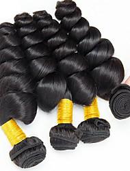 cheap -4 Bundles Indian Hair Wavy Human Hair Natural Color Hair Weaves / Hair Bulk Human Hair Extensions 8-28 inch Natural Color Human Hair Weaves Fashionable Design Best Quality New Arrival Human Hair / 8A