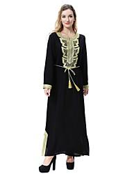 abordables -Femme Grossesse Midi Balançoire Abaya Kaftan Robe - Fendu Printemps Automne Hiver Vert Noir Rouge XL XXL XXXL Laine Manches Longues