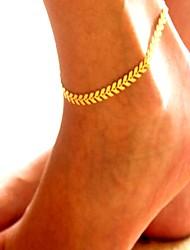Недорогие -Ножной браслет Массивный Дамы Винтаж Жен. Украшения для тела Назначение Повседневные Офис Сплав В форме листа Золотой Серебряный 1шт