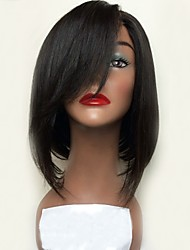 cheap -Remy Human Hair Lace Front Wig Bob Short Bob Side Part style Peruvian Hair Straight Black Wig 130% Density with Baby Hair Natural Hairline Women's Short 8-14 Human Hair Lace Wig Aili Young Hair