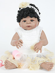 cheap -FeelWind 22 inch Reborn Doll Girl Doll Baby Girl Indian Girl African Doll Reborn Baby Doll lifelike Hand Made Child Safe Non Toxic Parent-Child Interaction with Clothes and Accessories for Girls