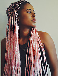 cheap -Synthetic Wig Box Braids Kardashian Braid Wig Pink Ombre Long Black / Pink Synthetic Hair 24 inch Women's Ombre Hair Middle Part Braided Wig Pink Ombre