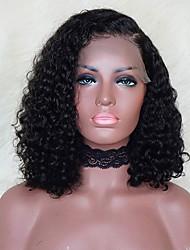 Недорогие -человеческие волосы Remy Лента спереди Парик Стрижка боб стиль Бразильские волосы Кудрявый Парик 130% Плотность волос / Природные волосы / Парик в афро-американском стиле / Необработанные