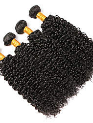 cheap -4 Bundles Peruvian Hair Curly Human Hair Natural Color Hair Weaves / Hair Bulk Extension Bundle Hair 8-28 inch Black Natural Color Human Hair Weaves Soft Woven Natural Human Hair Extensions / 8A