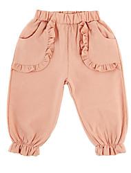 abordables -bébé Fille Basique Quotidien Couleur Pleine Ruché Coton Pantalons Rose Claire / Bébé