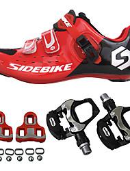 abordables -SIDEBIKE Adulte Chaussures Velo avec Pédale & Fixation Chaussures Vélo Route Fibre de Carbone Coussin Cyclisme Rouge Homme Chaussures Vélo / Chaussures de Cyclisme / Grille respirante