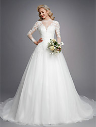 cheap -Ball Gown Wedding Dresses High Neck Court Train Lace Tulle Long Sleeve Romantic Plus Size Illusion Sleeve with Beading Appliques 2021
