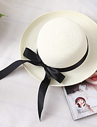 cheap -Women's Basic Holiday Straw Straw Hat-Color Block Summer White Brown Beige