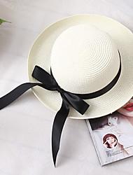 Недорогие -Жен. Классический Праздник Соломенная шляпа Солома,Контрастных цветов Лето Белый Коричневый Бежевый