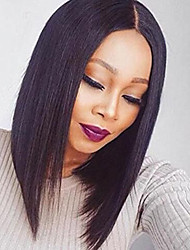 cheap -Synthetic Lace Front Wig Cosplay Wig Straight Bob Middle Part Lace Front Wig Short Natural Black Synthetic Hair Women's Heat Resistant Women Middle Part Bob Black / African American Wig