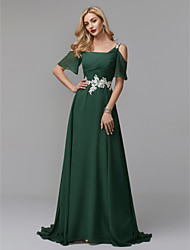 cheap -A-Line Straps Sweep / Brush Train Chiffon Elegant Formal Evening Dress 2020 with Beading / Appliques / Pleats