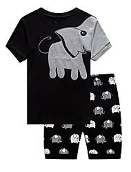 cheap -Kids Boys' Basic Daily Print Print Short Sleeve Regular Cotton Clothing Set Black