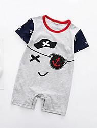 cheap -Baby Boys' Street chic Print Short Sleeves Cotton Romper Navy Blue / Toddler