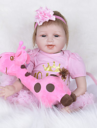 cheap -FeelWind Reborn Doll Girl Doll Baby Girl 22 inch Newborn lifelike Child Safe Non Toxic Parent-Child Interaction Hand Rooted Mohair Kid's Girls' Toy Gift / Artificial Implantation Brown Eyes