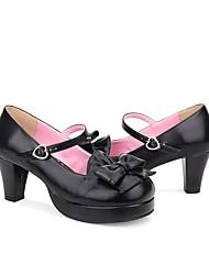 cheap -Women's Lolita Shoes Princess Lolita Chunky Heel Shoes Solid Colored 6.5 cm Black Brown Ink Blue PU(Polyurethane) Halloween Costumes