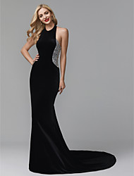 cheap -Mermaid / Trumpet Jewel Neck Sweep / Brush Train Lace / Velvet Elegant / Celebrity Style Formal Evening Dress with Appliques / Pleats 2020