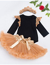 cheap -Baby Girls' Active Daily Patchwork Half Sleeve Regular Regular Clothing Set Black