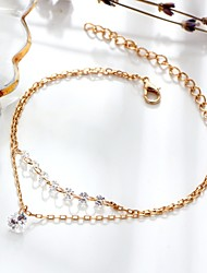 cheap -Women's Chain Bracelet Heart Dainty Ladies Double Layered Fashion Elegant Alloy Bracelet Jewelry Gold For Gift Daily