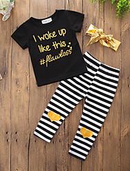 cheap -Toddler Girls' Clothing Set Striped Print Short Sleeve Print Cotton Daily Sports Black Active Regular Regular / Cute