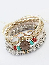 cheap -4pcs Women's Bead Bracelet Layered Stack Ladies Fashion Multi Layer Cord Bracelet Jewelry White / Black / Red For Ceremony Office & Career