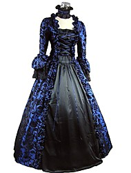 cheap -Rococo Victorian 18th Century Dress Party Costume Women's Costume Bule / Black Vintage Cosplay Party Prom 3/4-Length Sleeve Ball Gown