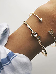 abordables -2pcs Manchettes Bracelets Parure Bracelet Femme Noué Twist Circle Nœud dames simple Classique Mode Bracelet Bijoux Dorée pour Soirée Rendez-vous Vacances