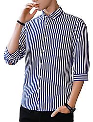 cheap -Men's Daily Work Business / Basic Slim Shirt - Striped Red / Long Sleeve