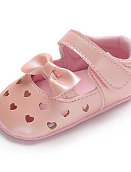 cheap -Girls' Comfort / First Walkers / Crib Shoes Faux Leather Flats Toddler(9m-4ys) Bowknot / Hollow-out / Magic Tape Dark Blue / Red / Pink Spring &  Fall / Wedding / Party & Evening / Wedding