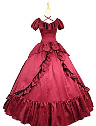 cheap -Rococo Victorian Costume Women's Dress Red / black Vintage Cosplay Cotton Blend Short Sleeve Puff Sleeve
