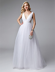 cheap -Ball Gown Plunging Neck Floor Length Tulle Elegant / Minimalist Formal Evening / Wedding Party Dress 2020 with Draping