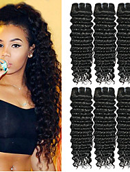 cheap -6 Bundles Indian Hair Curly Human Hair Natural Color Hair Weaves / Hair Bulk Human Hair Extensions 8-28 inch Natural Color Human Hair Weaves Fashionable Design Best Quality For Black Women Human Hair