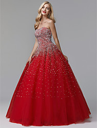 cheap -Ball Gown Luxurious Red Quinceanera Formal Evening Dress Strapless Sleeveless Floor Length Satin Tulle with Crystals 2020