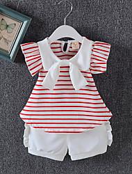 cheap -Baby Girls' Active Daily Striped Short Sleeve Regular Cotton Clothing Set Blushing Pink / Toddler