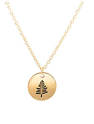 cheap -Women's Pendant Necklace Charm Necklace Engraved Leaf Ladies Simple Sweet Alloy Gold Silver 46 cm Necklace Jewelry 1pc For Birthday Gift Daily