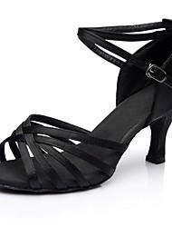 cheap -Women's Dance Shoes Satin Latin Shoes Splicing Sandal / Heel Thick Heel Customizable Black / Performance / Practice