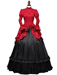 cheap -Cosplay Lolita Victorian 18th Century Dress Party Costume Women's Costume Red / black Vintage Cosplay Long Sleeve Ball Gown