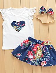 cheap -Baby Girls' Active Daily Geometric / Print Short Sleeve Short Cotton Clothing Set White / Toddler