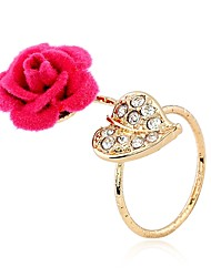 cheap -Knuckle Ring Cubic Zirconia Wine Black Red Cloth Alloy Heart Flower Ladies Trendy Sweet 1pc 9 / Women's